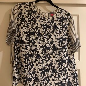 Vince Camuto Navy Patterned Blouse